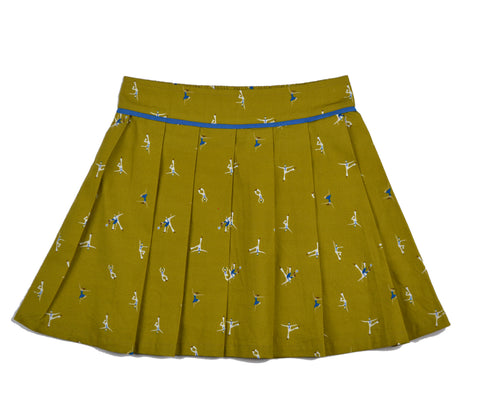 Baba Babywear PleatSkirt Alloverprint Dancers Yellow - Plooirokje Geel Dansers