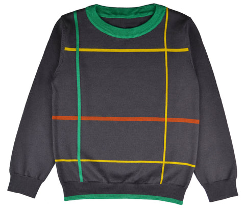 Baba Babywear - Pullover Boys Checked Grey