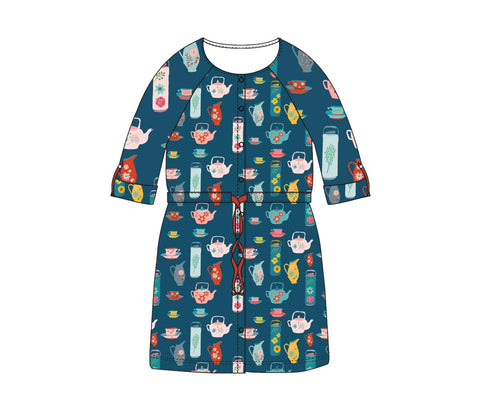 Baba Babywear Raglan Dress Tea Party - Donkerblauwe jurk Thee Serviesje
