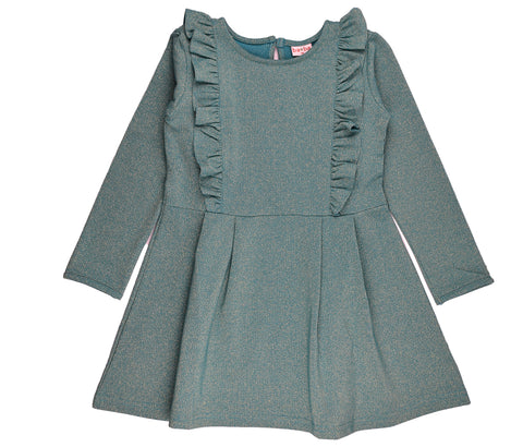 Baba Babywear - Ruffle Dress Lurex Silver/Blue
