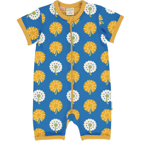 Maxomorra - Rompersuit Short Sleeve Dandelion - Summer Jumpsuit Korte Mouw Paardenbloemen