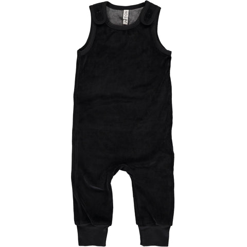 Maxomorra Playsuit Velour Black - Zwarte Velours Playsuit