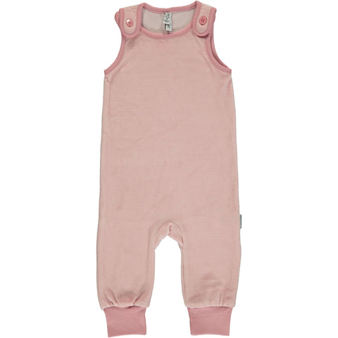 Maxomorra Playsuit Velour Dusty Pink - Poeder Roze Velours Playsuit