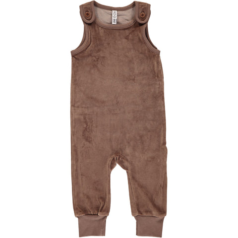 Maxomorra Playsuit Velour Hazel Brown - Lichtbruine Velours Playsuit