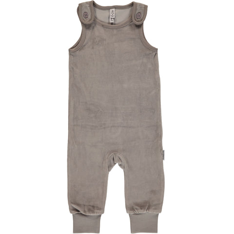 Maxomorra Playsuit Velour Licht Grey - Licht Grijze Playsuit Velours