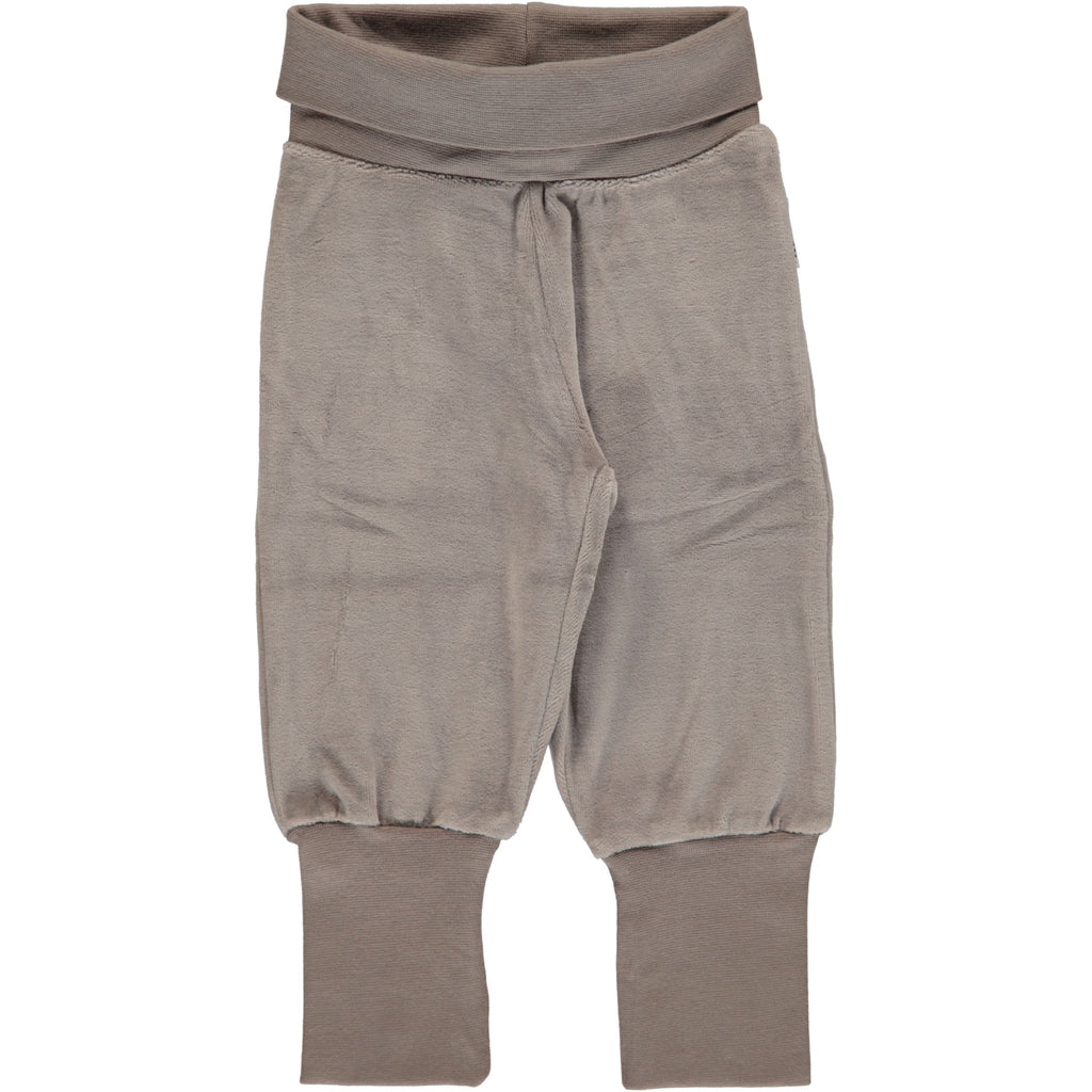 Maxomorra Pants Rib Velours Light Grey Melange