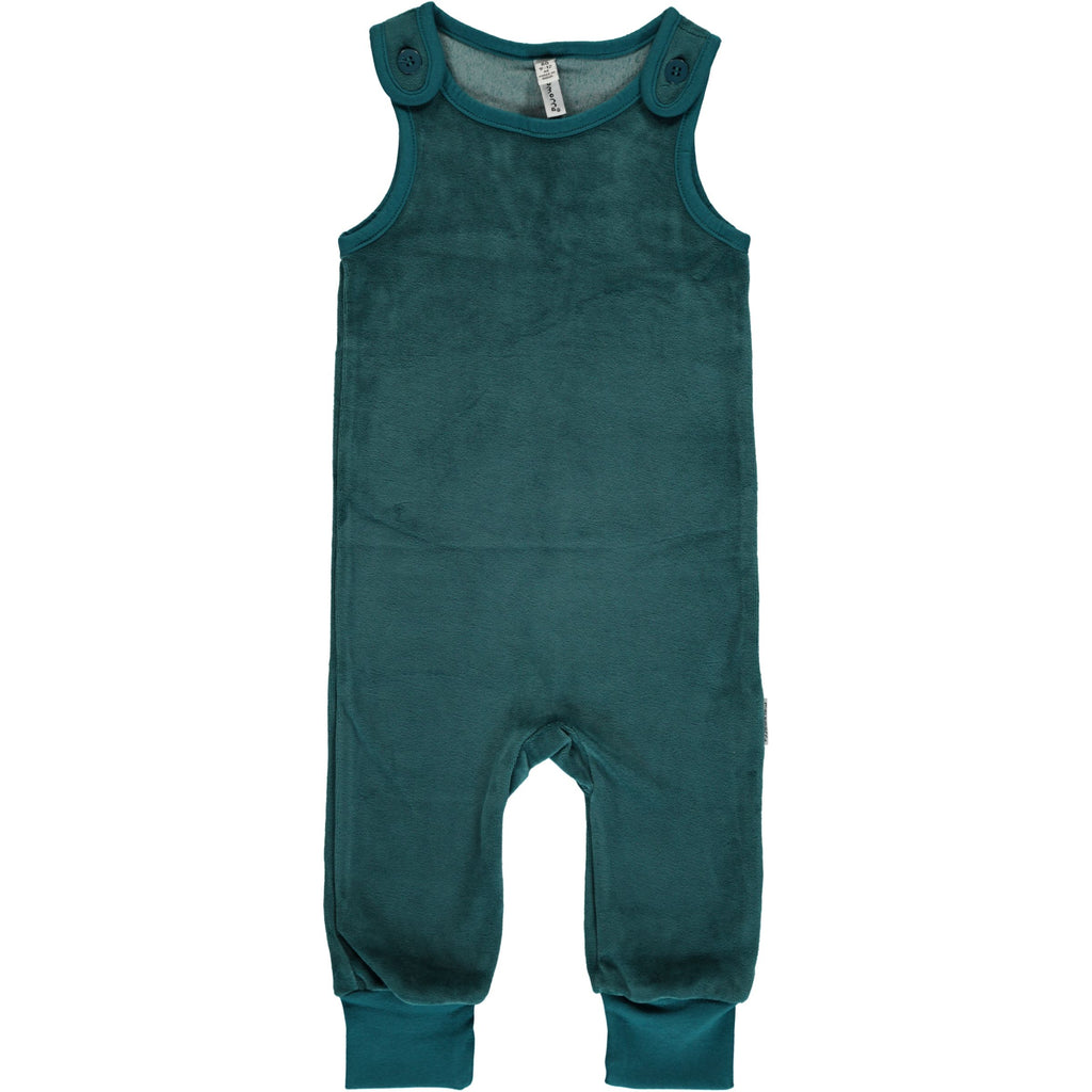 Maxomorra Playsuit Velour Petrol - Petrol Blauwe Velours Playsuit