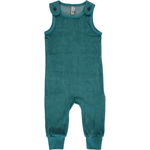 Maxomorra Playsuit Velour Soft Petrol - Zacht Petrol Velours Playsuit