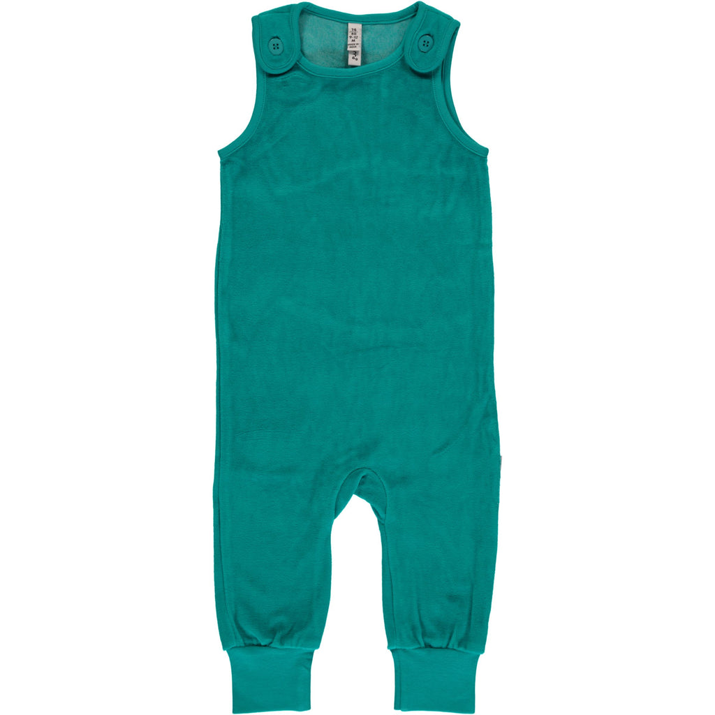 Maxomorra Playsuit Velour Turquoise - Turquoise Blauwe Velours Playsuit