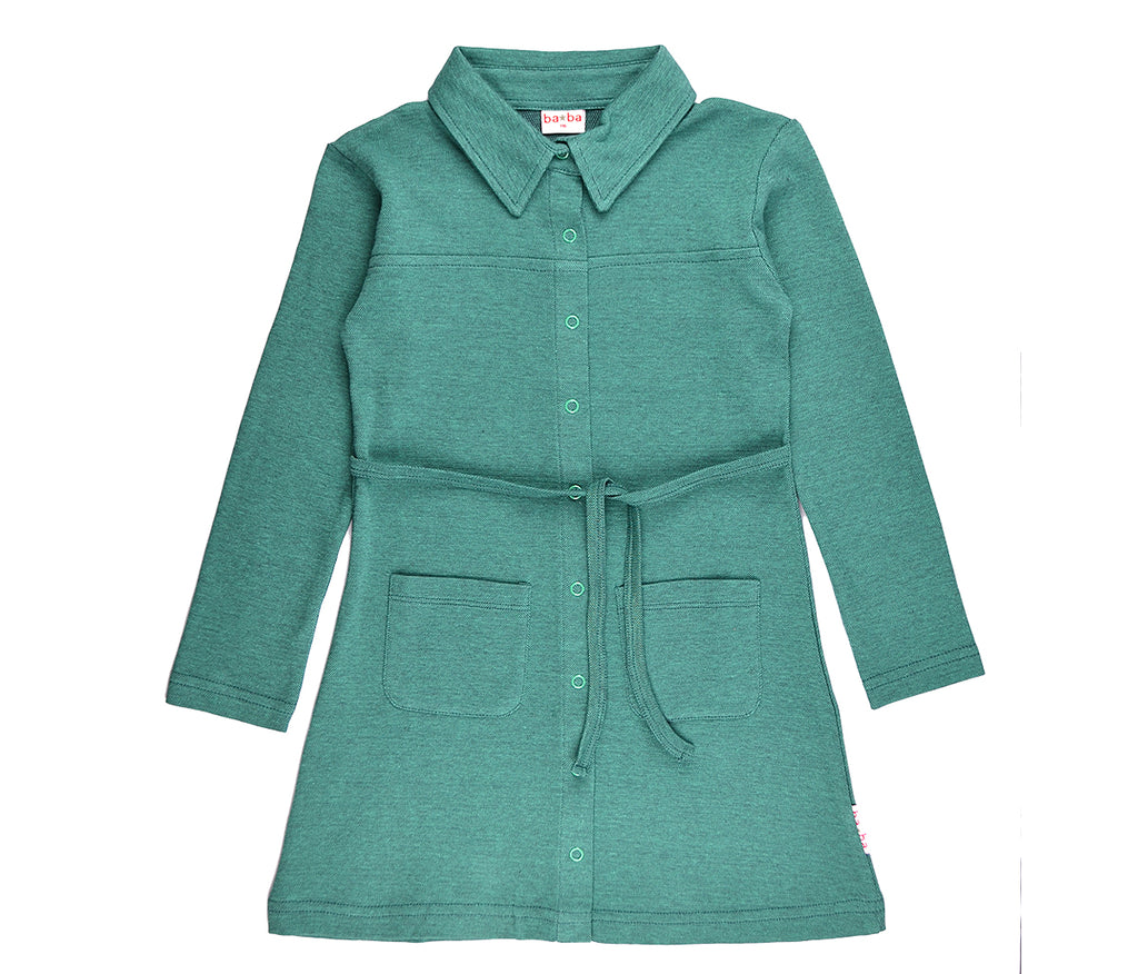 Baba Babywear - Shirt Dress Bicolor Green Piqué