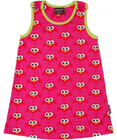Maxomorra Dress Pinafore Bird Pink