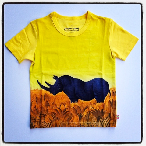Katvig - T-Shirt Rhinoceros in Sunshine Yellow - T-shirt Neushoorn Zon Geel