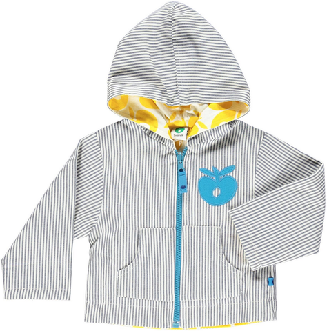 Smafolk - Spring/Summer BABY Jacket Reversible Blue Stripes/Yellow Apples