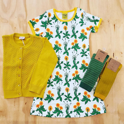 Duns Sweden Dress Dandelions Dark Green