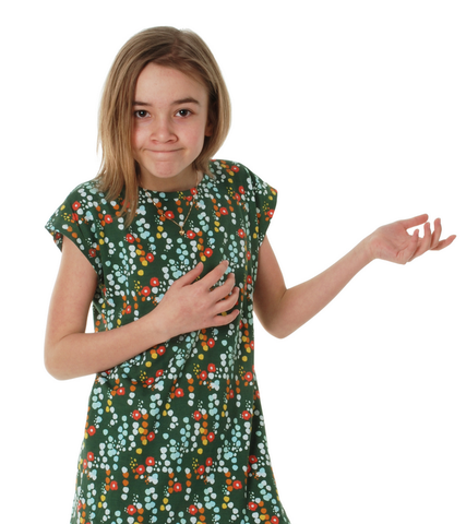 Duns Sweden - Shortsleeve Dress Small Flower Green - Jurk Korte Mouw Bloemetjes Groen