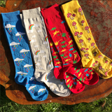 Slugs and Snails Knee Socks Fun Guy - Gele Kniekousen Paddestoelen