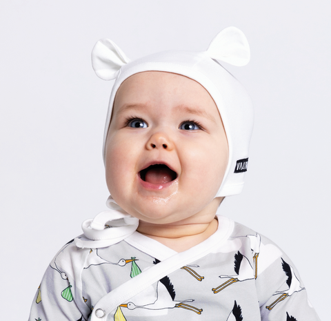 Villervalla - White Baby Bonnet with Ears