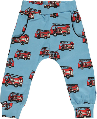 Smafolk - Baggy Pants Light Blue - Red Firetrucks