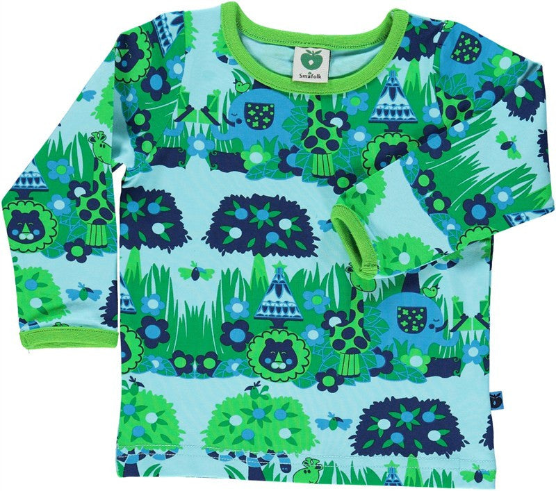 Smafolk Longsleeve Baby Lightblue Jungle - Oerwoud