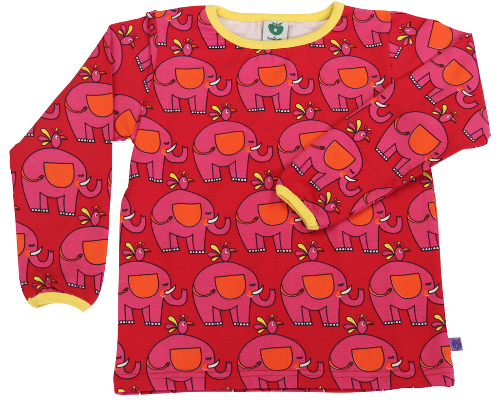 Smafolk Longsleeve Red with Pink Elephants - Rood Shirt Roze Olifanten