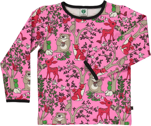 Smafolk - Longsleeve Animals in the Forest Pink - Bosdieren Roze