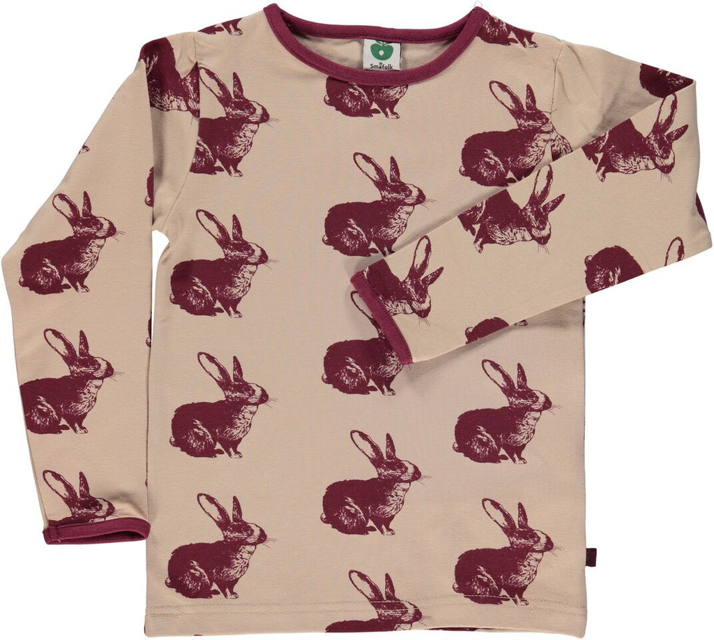 Smafolk Longsleeve Beige Konijn Bordeaux - Rabbit Wine Red