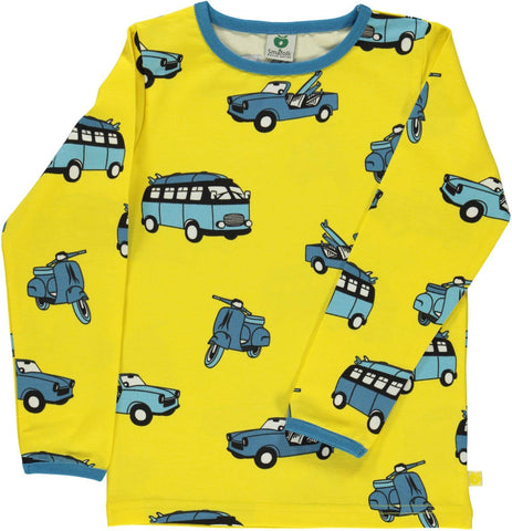 Smafolk Longsleeve Auto's Geel - Cars Yellow Maize