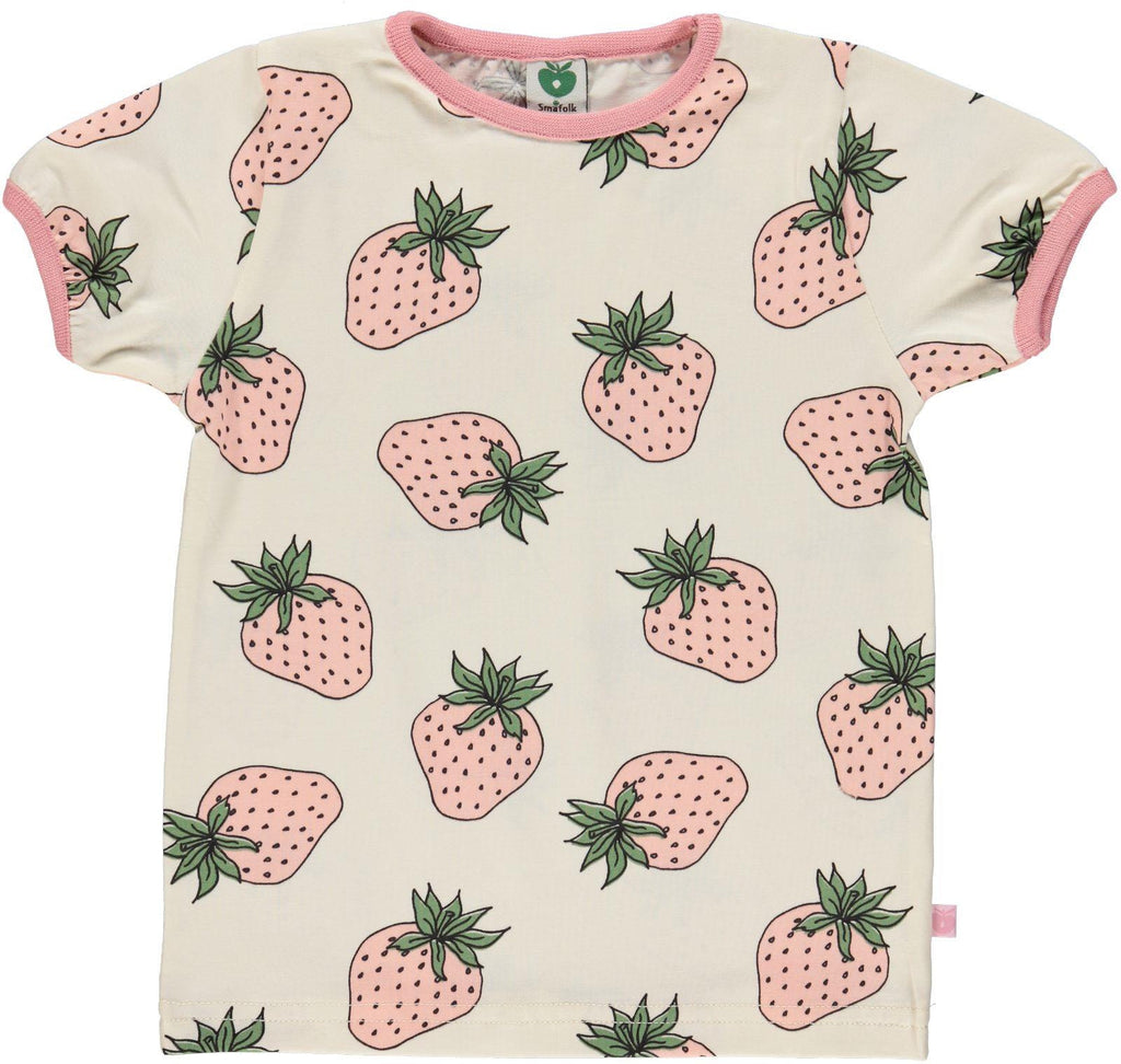 Smafolk - T-Shirt Ecru Roze Aardbeien Pink Strawberries