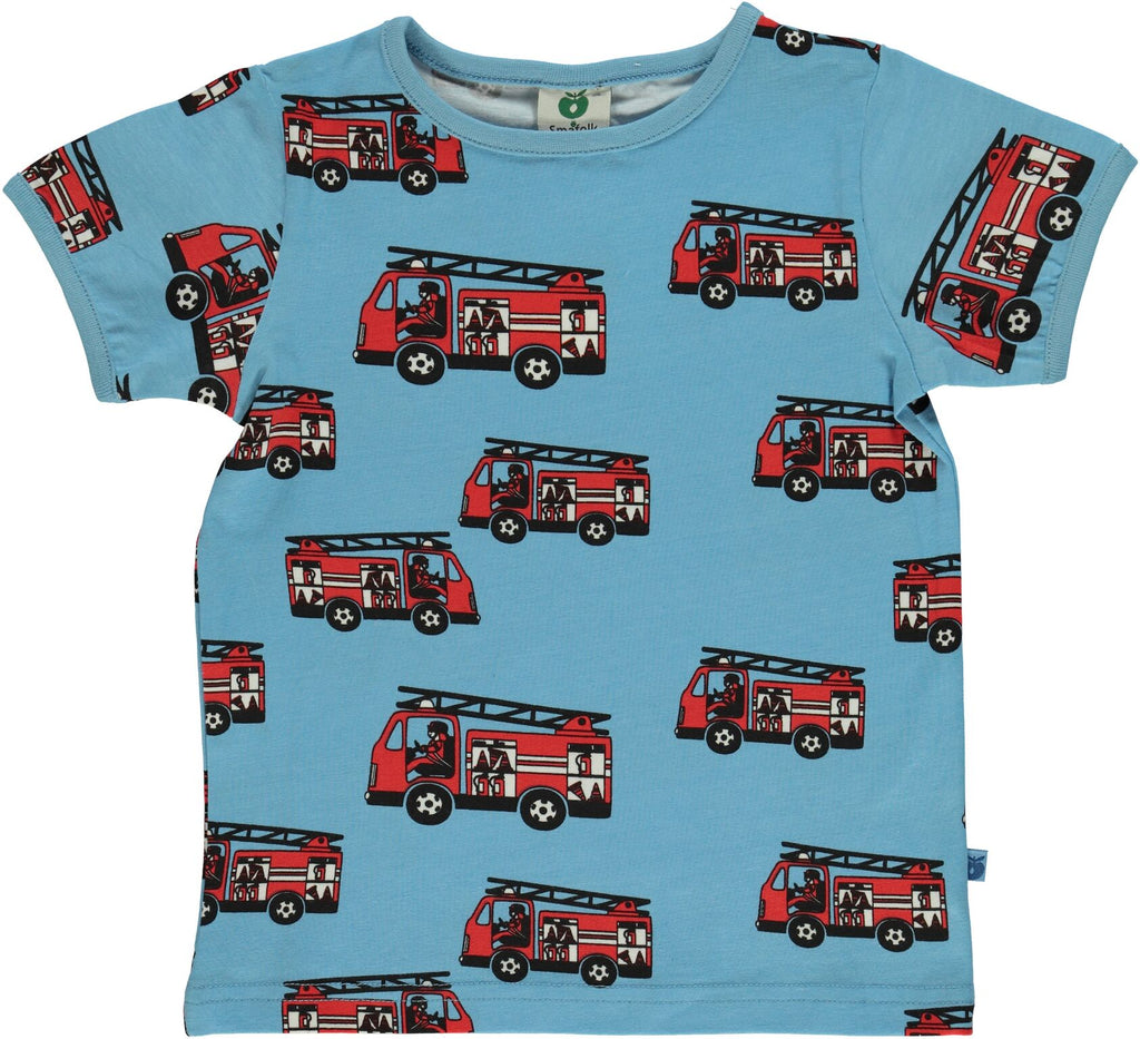Smafolk - T-Shirt Light Blue Firetruck