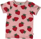 Smafolk - T-Shirt Roze Rode Aardbeien Red Strawberries
