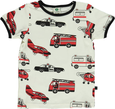 Smafolk - T-Shirt White Emergency Vehicles Zwaailichten