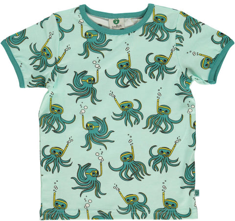Smafolk T-Shirt Aqua Mint Octopus