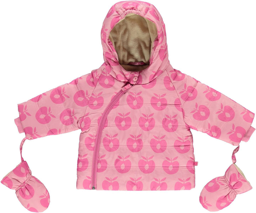 Babykleding Winterjas.Smafolk Winterjas Baby Roze Appels Winterjacket Blush Rose Apples