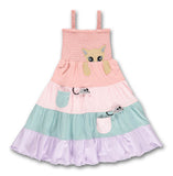 Ubang Cat Smock Dress Summer Blush - Jurkje met Kat & Muisjes
