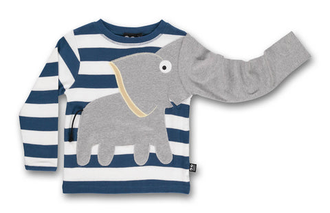 Ubang Elephant Tee Blue Striped - Olifant Shirt Blauwe Streep