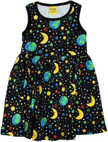 Duns Sweden - Gather Dress Mother Earth Black - Zwierjurk Mouwloos Sterrenhemel