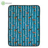 Villervalla - Baby Blanket Birch Animal Print Atlantic Blue