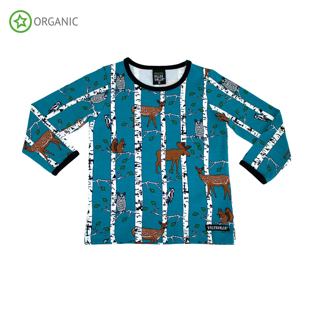 Villervalla - Longsleeve Birch Animals Print Atlantic Blue
