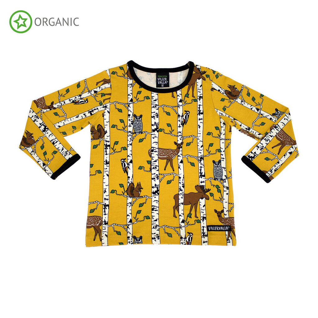 Villervalla - Longsleeve Birch Animals Print Mustard Yellow