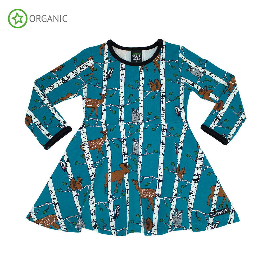 Villervalla - Half Circle Dress Birch Animals Print Atlantic Blue