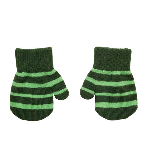 Villervalla - Mitten Gloves Dark Pine (Green Striped)