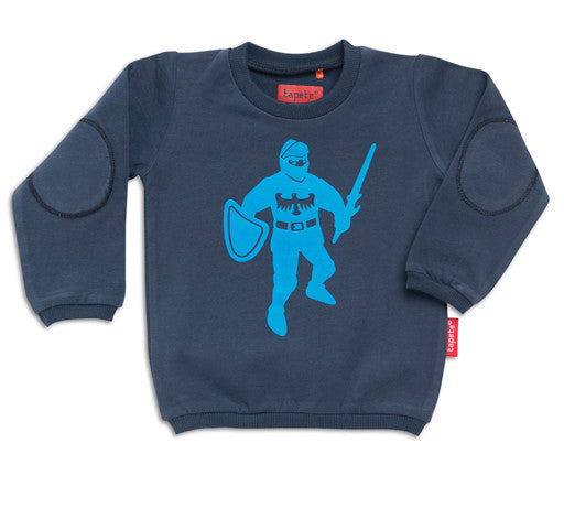 Tapete Longsleeve BABY Sweat Dark Blue Knight - Trui met Ridder