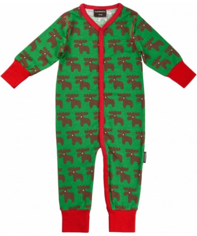 Maxomorra Jumpsuit Moose Button - Eland
