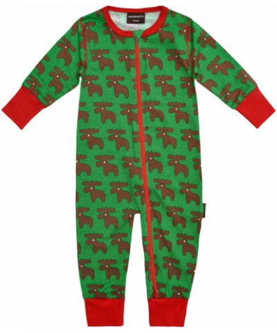 Maxomorra Jumpsuit Moose Zipper - Eland