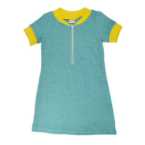 Baba Babywear - Zipper dress Speckled Terry Aqua