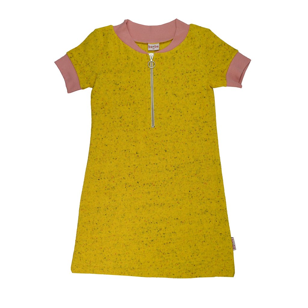Baba Babywear - Zipper dress Speckled Terry Lemon