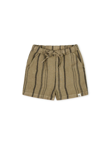 Matona Arkie Shorts Clay Striped - Linnen Korte Broek Klei Gestreept