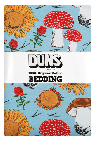 Duns Sweden Bedding Sunflowers & Mushrooms Sky Blue - Dekbedovertrek Zonnebloemen & Paddenstoelen