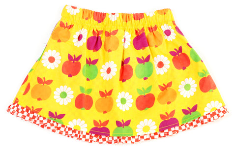 Duns Sweden Skirt Frill Yellow Apples and Flowers - Geel Rokje met Appels