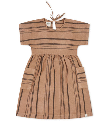 Matona Eden Dress Tan Striped - Linnen Jurk Gestreept